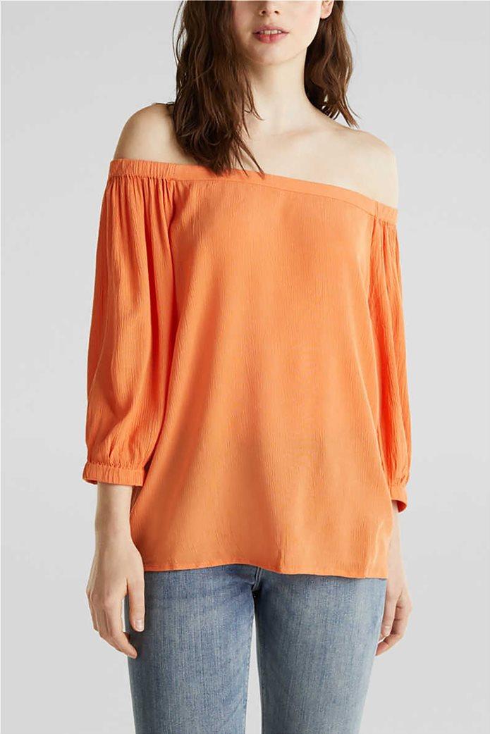 Esprit γυναικεία μπλούζα με carmen λαιμόκοψη και μανίκια 3/4 0