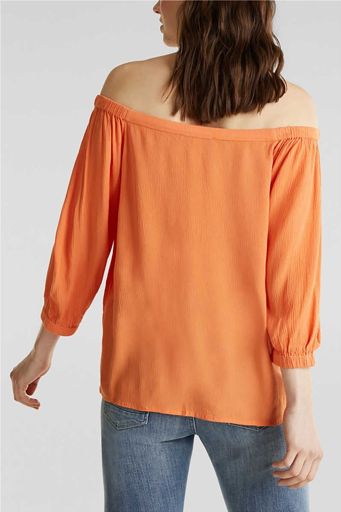 Esprit γυναικεία μπλούζα με carmen λαιμόκοψη και μανίκια 3/4 2