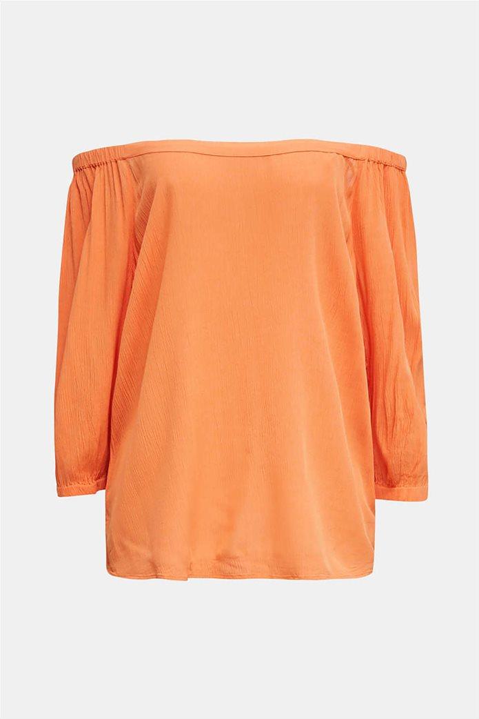 Esprit γυναικεία μπλούζα με carmen λαιμόκοψη και μανίκια 3/4 3