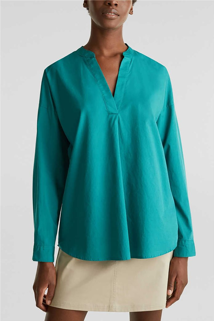 Esprit γυναικεία πουκαμίσα μακρυμάνικη με μάο γιακά 0