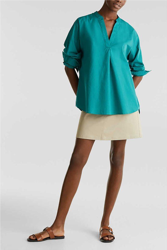 Esprit γυναικεία πουκαμίσα μακρυμάνικη με μάο γιακά 1