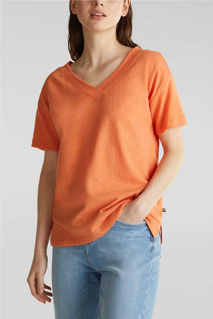 Esprit γυναικείο T-shirt με V λαιμόκοψη μονόχρωμο 0