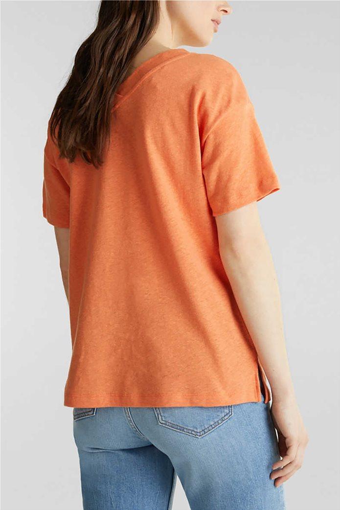 Esprit γυναικείο T-shirt με V λαιμόκοψη μονόχρωμο 2