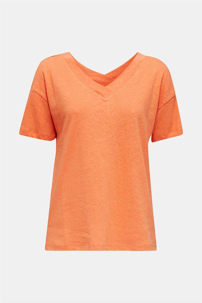 Esprit γυναικείο T-shirt με V λαιμόκοψη μονόχρωμο 3