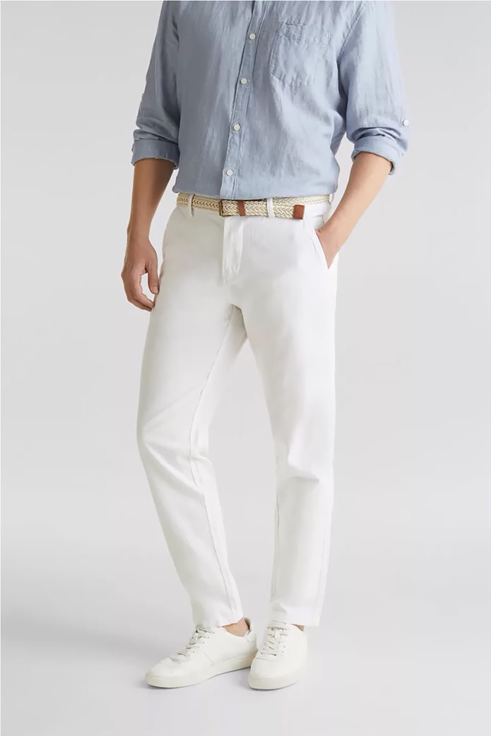 Esprit ανδρικό λινό παντελόνι με ζώνη (34L) 0