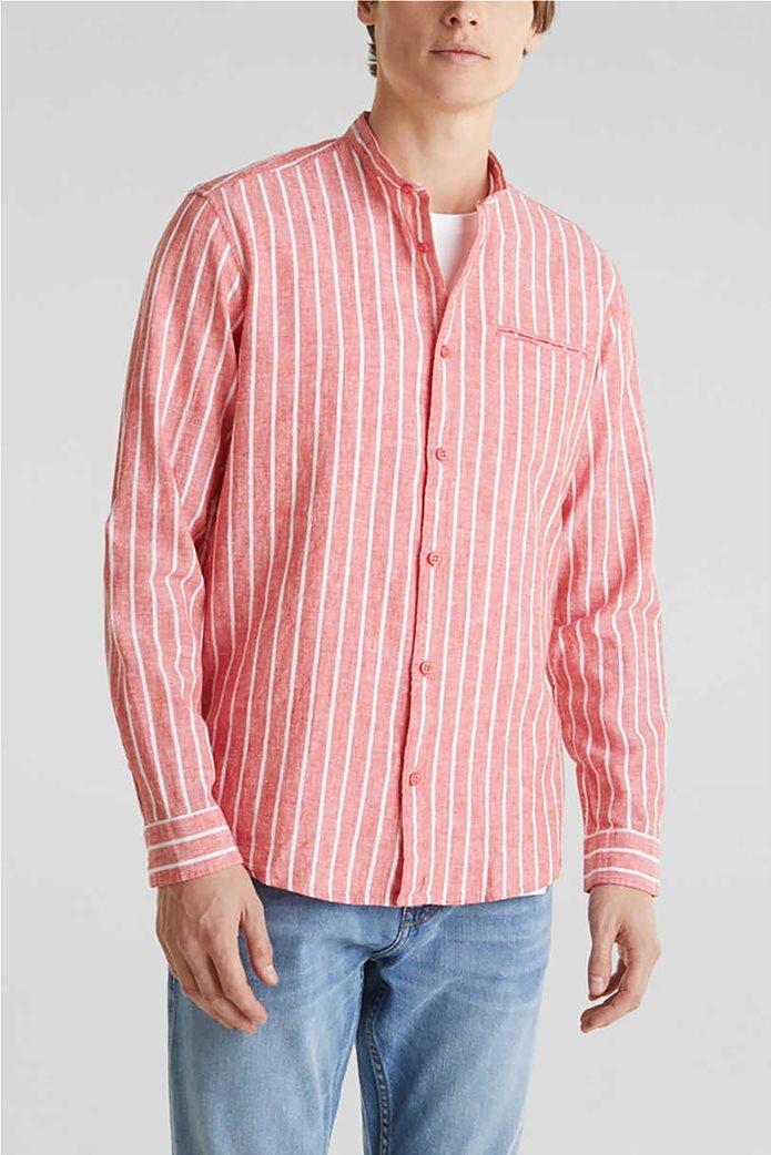 Esprit ανδρικό πουκάμισο μακρυμάνικο με μάο γιακά και ρίγες 0