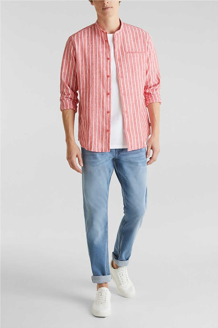 Esprit ανδρικό πουκάμισο μακρυμάνικο με μάο γιακά και ρίγες 1