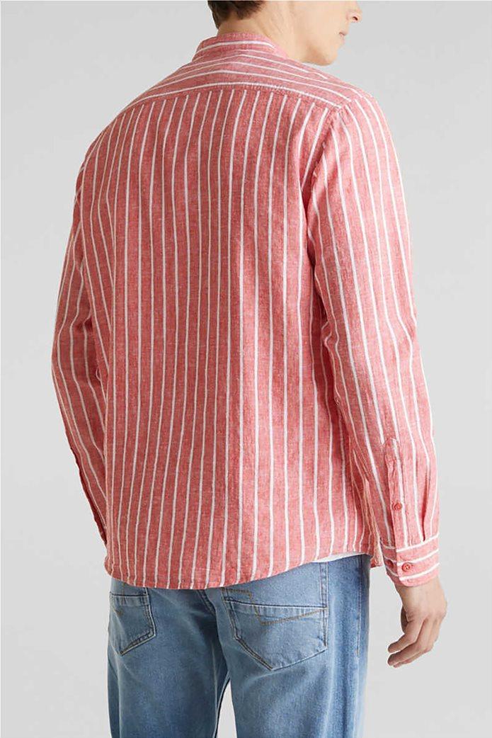 Esprit ανδρικό πουκάμισο μακρυμάνικο με μάο γιακά και ρίγες 2