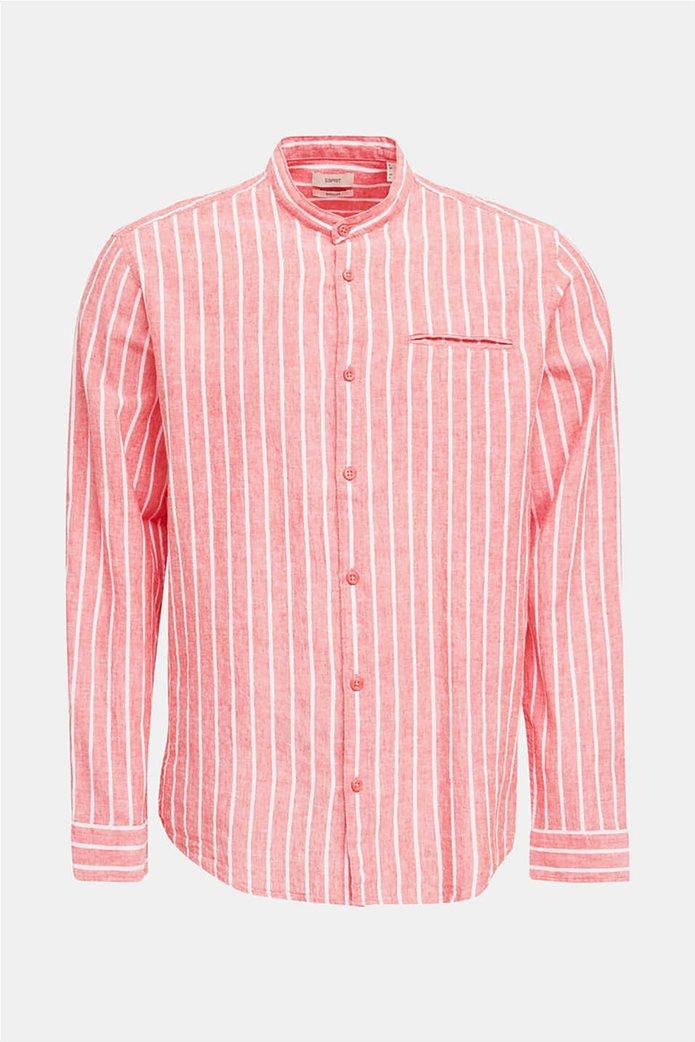 Esprit ανδρικό πουκάμισο μακρυμάνικο με μάο γιακά και ρίγες 3