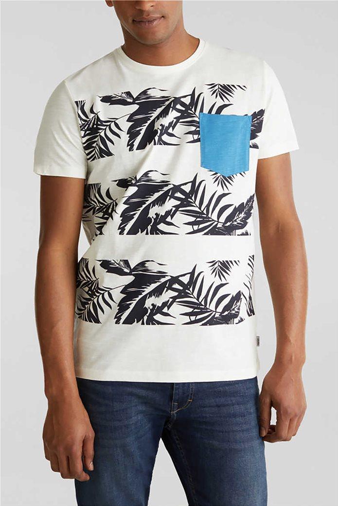 Esprit ανδρικό T-shirt με floral print και τσεπάκι σε αντίθεση 0