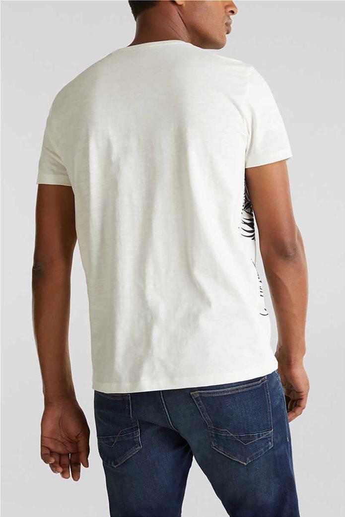 Esprit ανδρικό T-shirt με floral print και τσεπάκι σε αντίθεση 2
