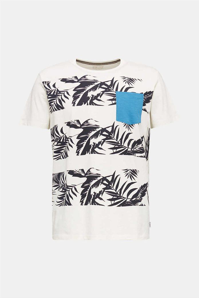 Esprit ανδρικό T-shirt με floral print και τσεπάκι σε αντίθεση 3