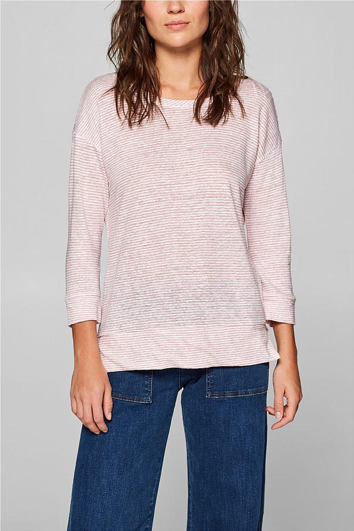 Esprit γυναικεία λινή μπλούζα με ρίγες 0
