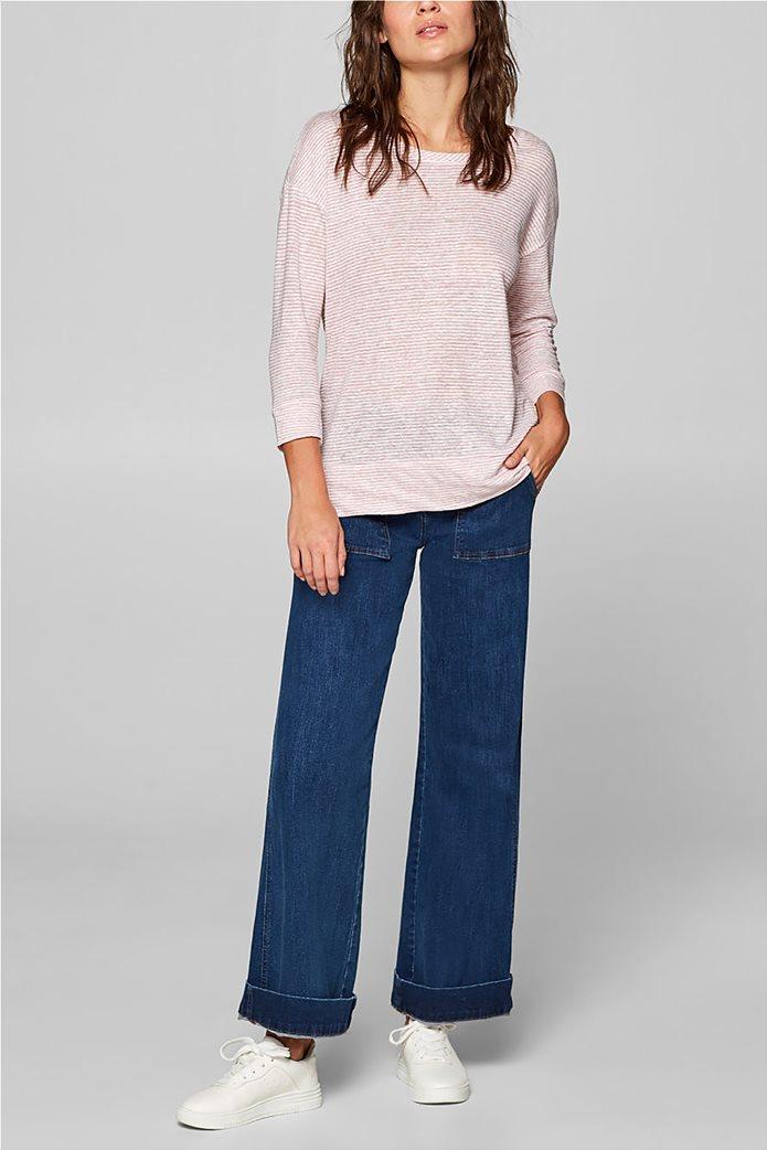 Esprit γυναικεία λινή μπλούζα με ρίγες 1