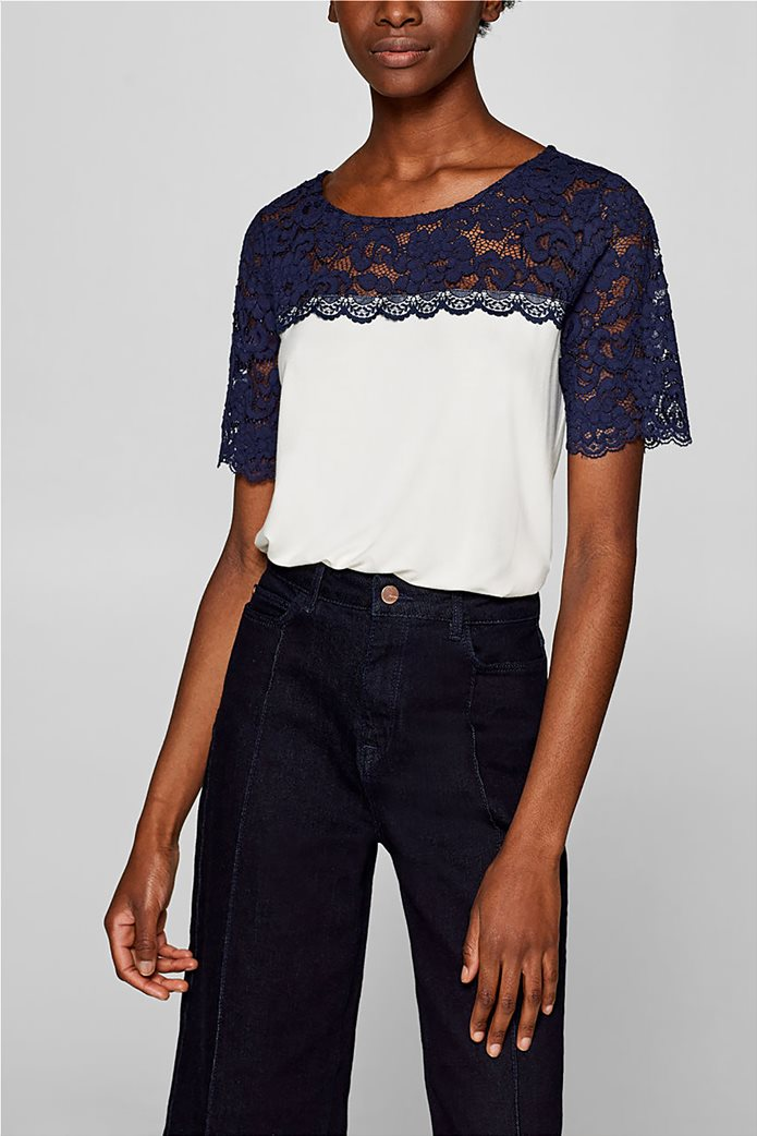 Esprit γυναικεία μπλούζα με δαντέλα 0