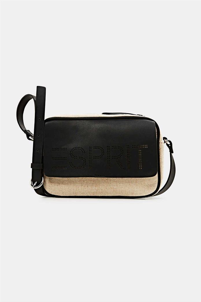 Esprit γυναικεία τσάντα ώμου με διαφορετικές υφές και διάτρητο logo 0
