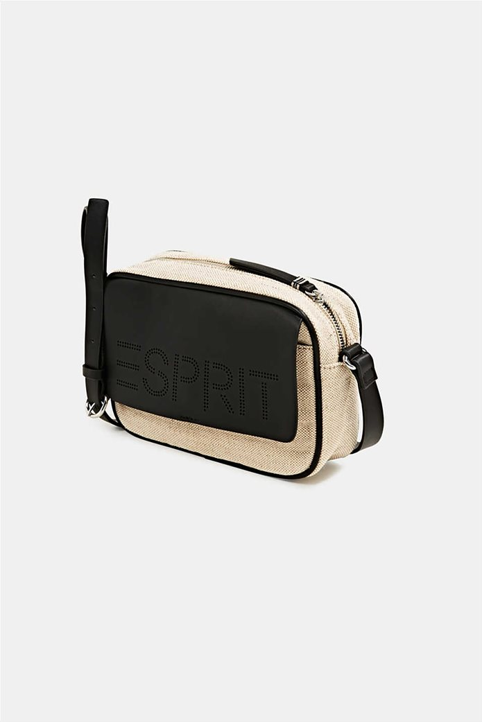 Esprit γυναικεία τσάντα ώμου με διαφορετικές υφές και διάτρητο logo 2