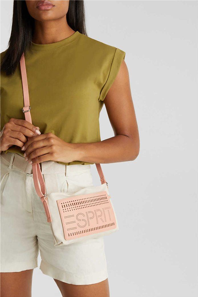 Esprit γυναικεία τσάντα ώμου υφασμάτινη με διαφορετικές υφές και διάτρητο logo 0
