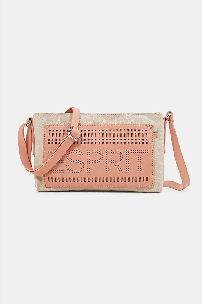Esprit γυναικεία τσάντα ώμου υφασμάτινη με διαφορετικές υφές και διάτρητο logo 1