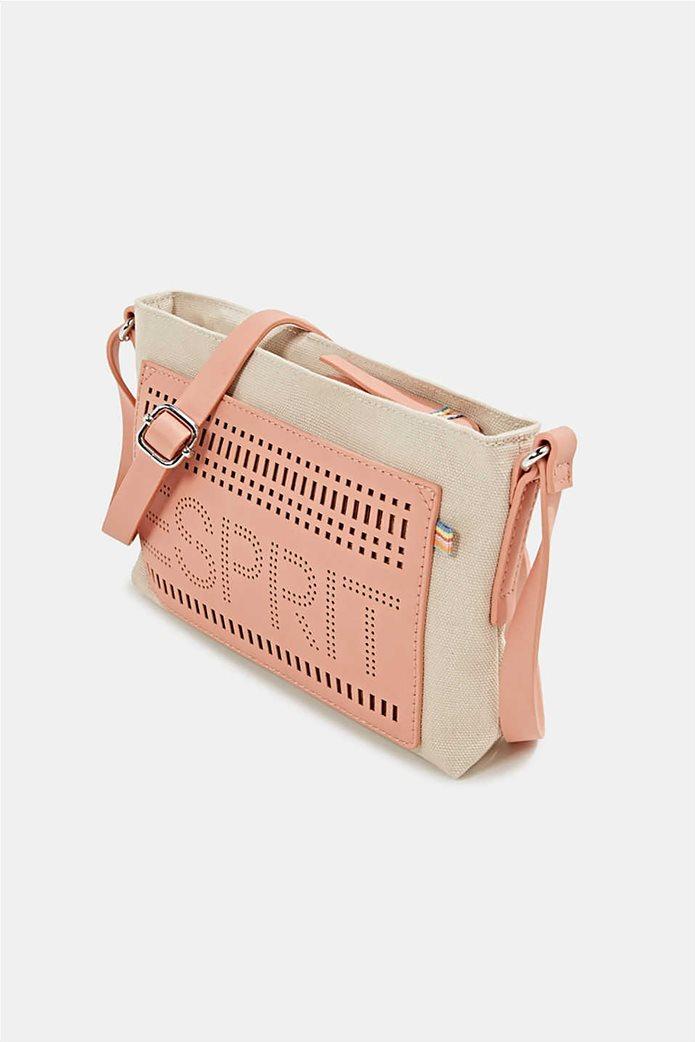 Esprit γυναικεία τσάντα ώμου υφασμάτινη με διαφορετικές υφές και διάτρητο logo 2