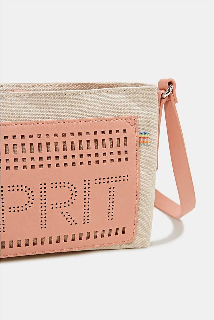 Esprit γυναικεία τσάντα ώμου υφασμάτινη με διαφορετικές υφές και διάτρητο logo 3
