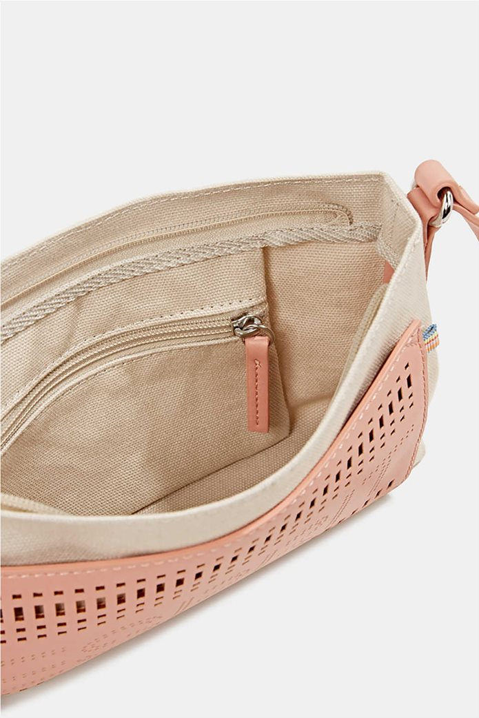 Esprit γυναικεία τσάντα ώμου υφασμάτινη με διαφορετικές υφές και διάτρητο logo 4
