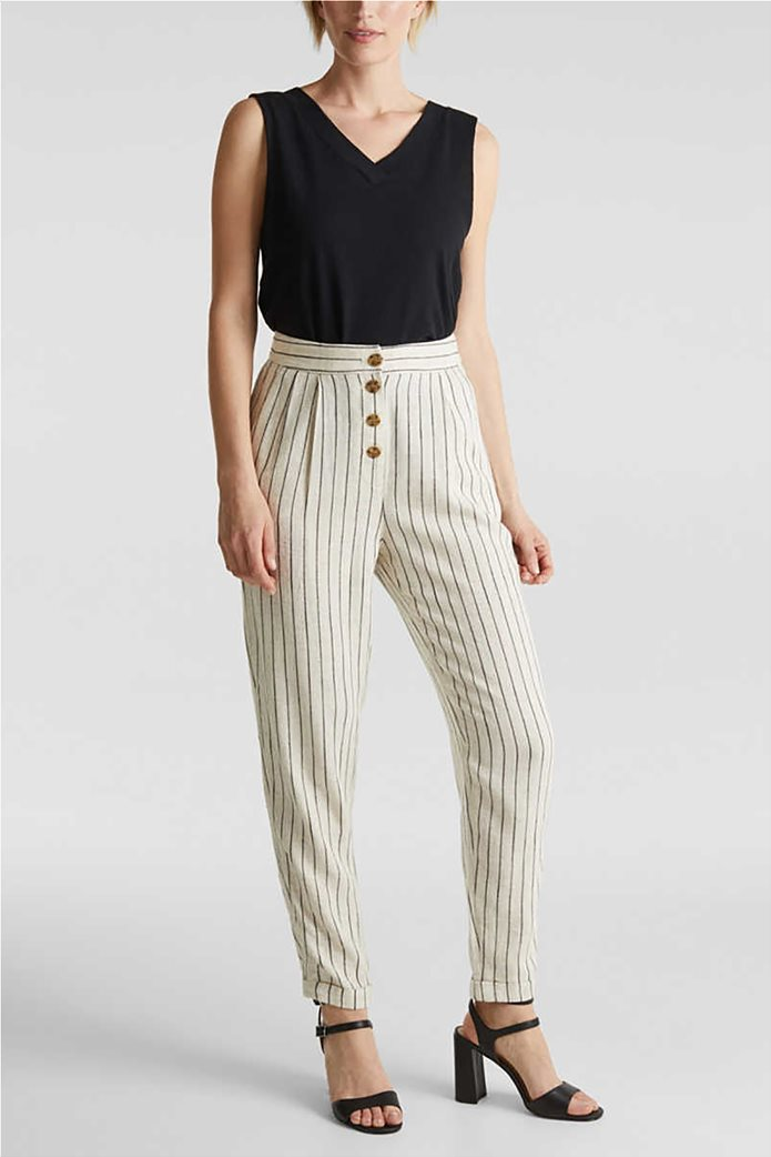 Esprit γυναικείο παντελόνι chino ριγέ με κουμπιά και πιέτες 0