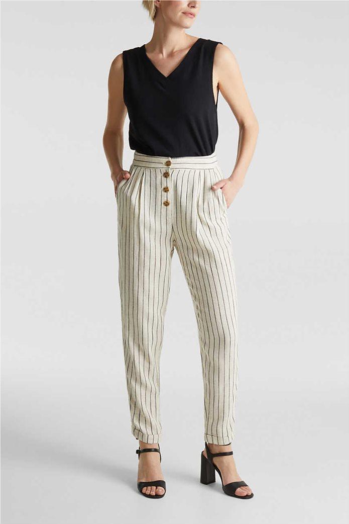 Esprit γυναικείο παντελόνι chino ριγέ με κουμπιά και πιέτες 1