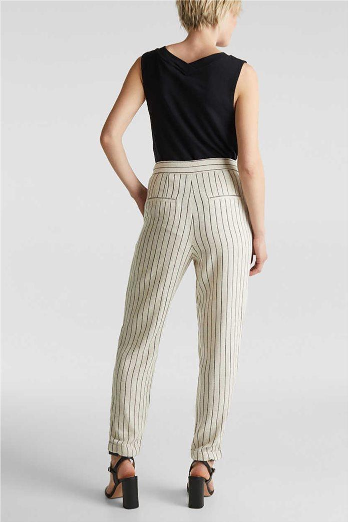 Esprit γυναικείο παντελόνι chino ριγέ με κουμπιά και πιέτες 2