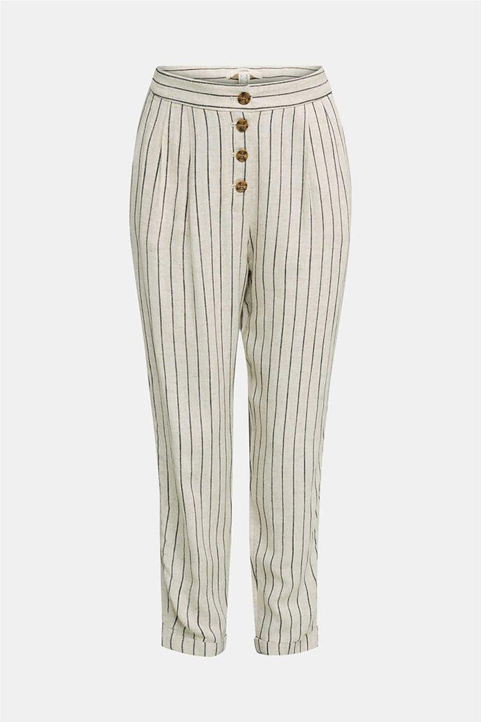 Esprit γυναικείο παντελόνι chino ριγέ με κουμπιά και πιέτες 3