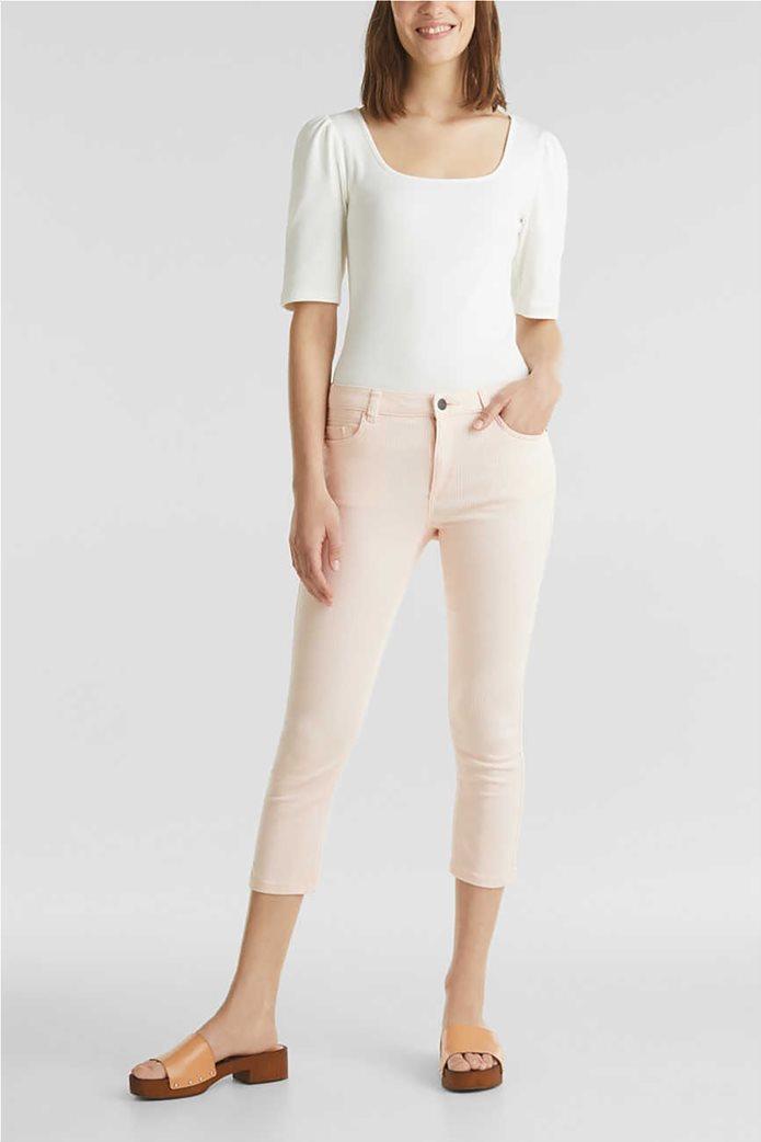 Esprit γυναικείο παντελόνι capri με λεπτές ρίγες skinny 0