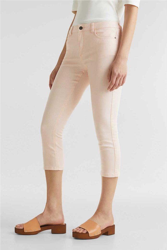 Esprit γυναικείο παντελόνι capri με λεπτές ρίγες skinny 1