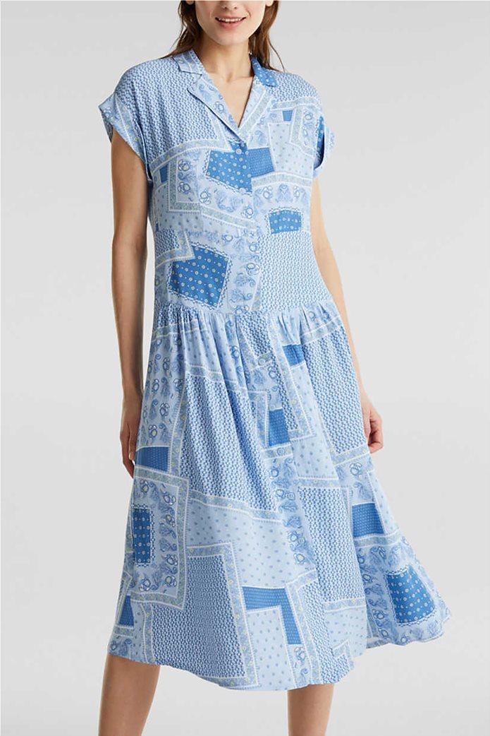 Esprit γυναικείο midi φόρεμα σεμιζιέ με print και μικροσχέδιο 0