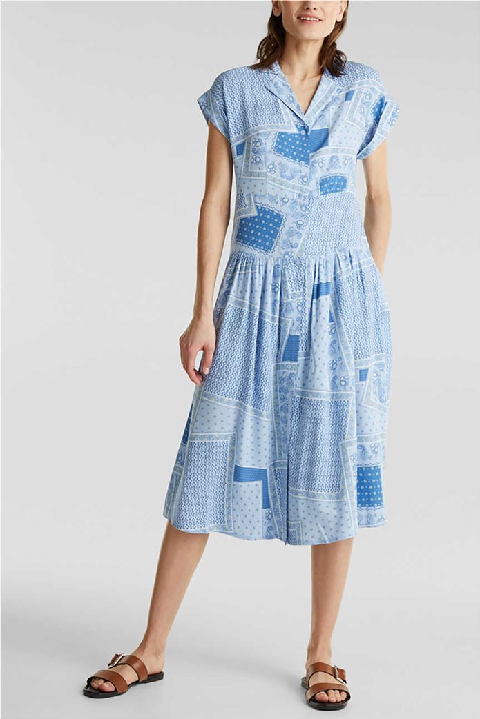 Esprit γυναικείο midi φόρεμα σεμιζιέ με print και μικροσχέδιο 1