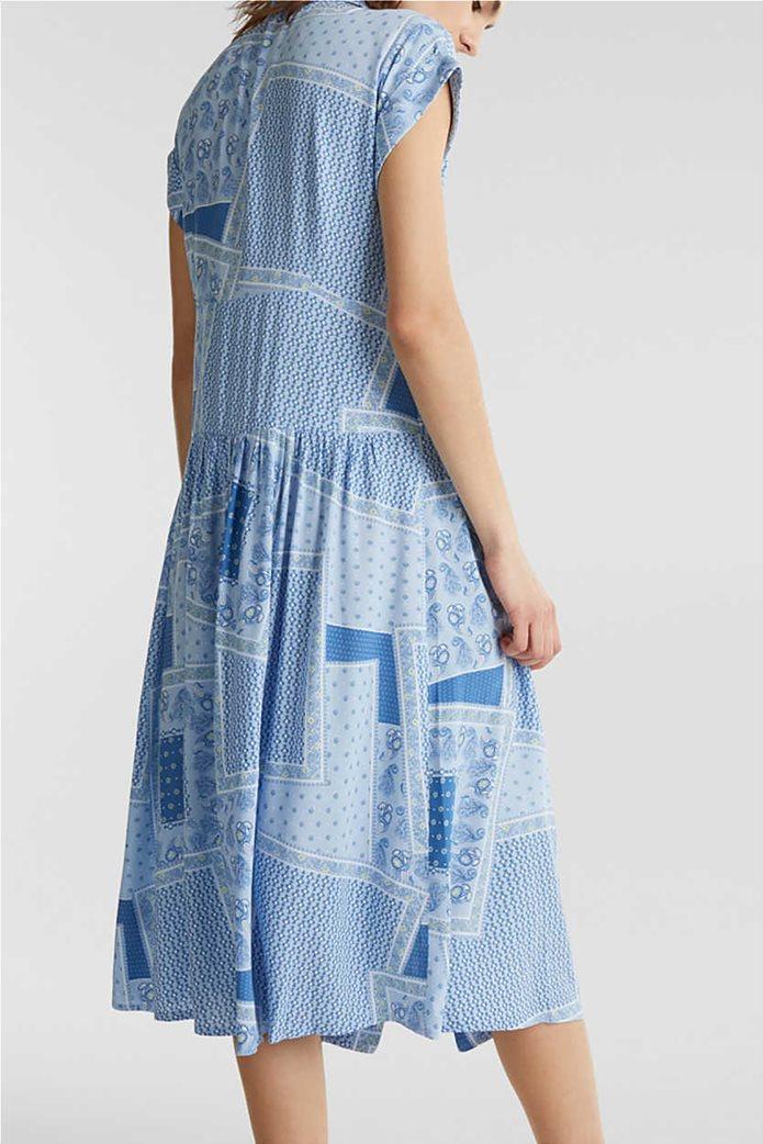 Esprit γυναικείο midi φόρεμα σεμιζιέ με print και μικροσχέδιο 2