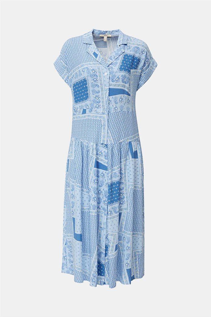 Esprit γυναικείο midi φόρεμα σεμιζιέ με print και μικροσχέδιο 3