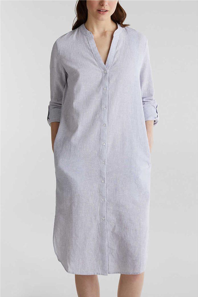 Esprit γυναικείο midi λινό φόρεμα σεμιζιέ με λεπτές ρίγες 0
