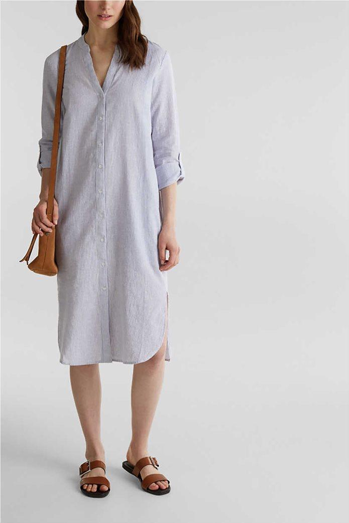 Esprit γυναικείο midi λινό φόρεμα σεμιζιέ με λεπτές ρίγες 1