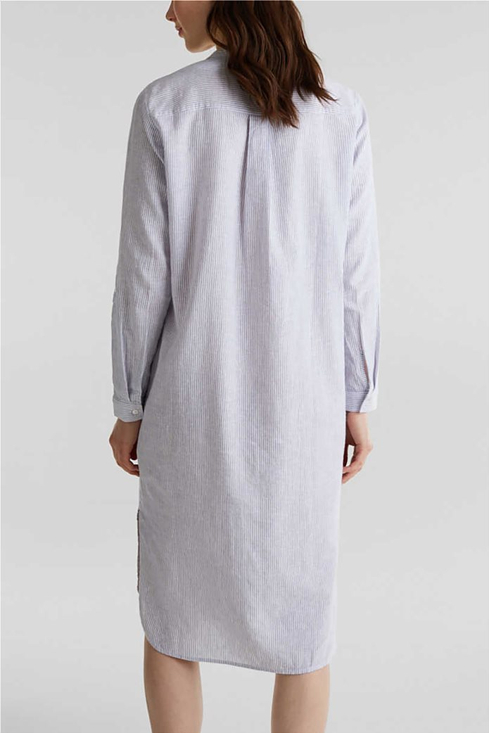Esprit γυναικείο midi λινό φόρεμα σεμιζιέ με λεπτές ρίγες 2