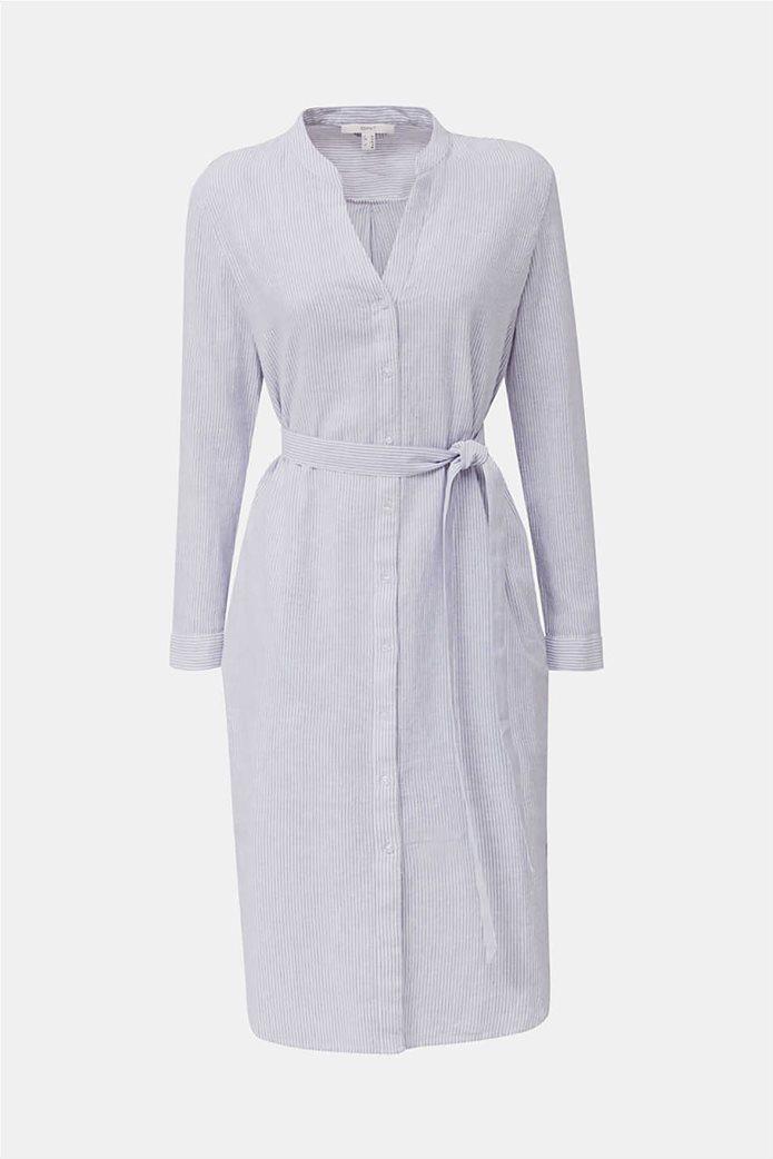 Esprit γυναικείο midi λινό φόρεμα σεμιζιέ με λεπτές ρίγες 3
