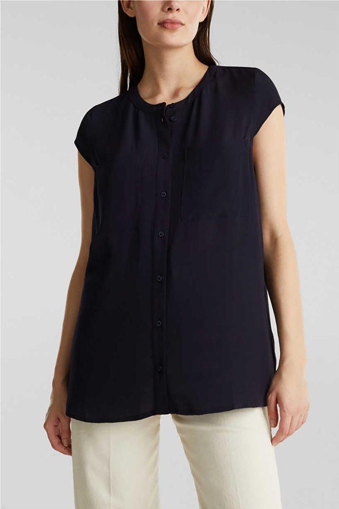 Esprit γυναικείο πουκάμισο κοντομάνικο μονόχρωμο με τσέπες 0