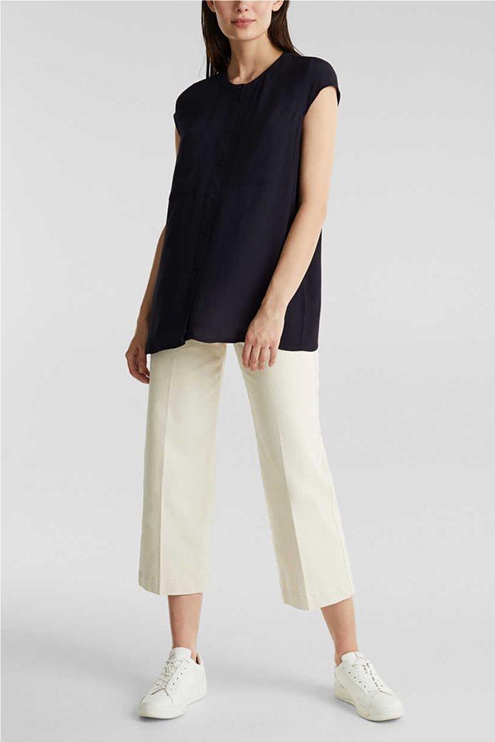 Esprit γυναικείο πουκάμισο κοντομάνικο μονόχρωμο με τσέπες 1