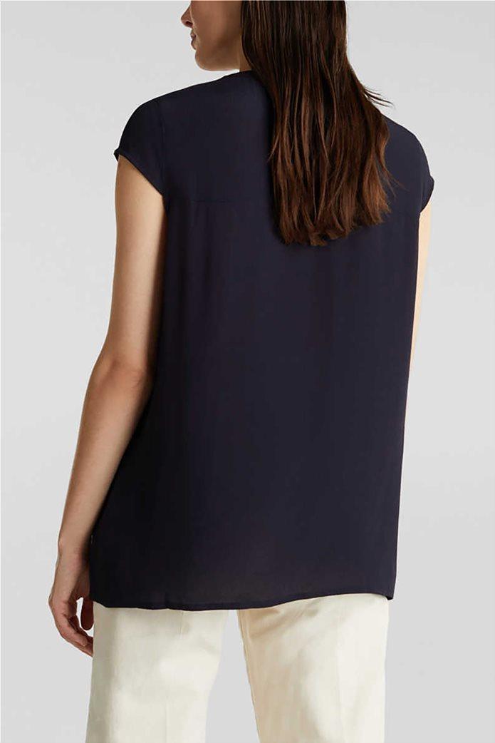 Esprit γυναικείο πουκάμισο κοντομάνικο μονόχρωμο με τσέπες 2