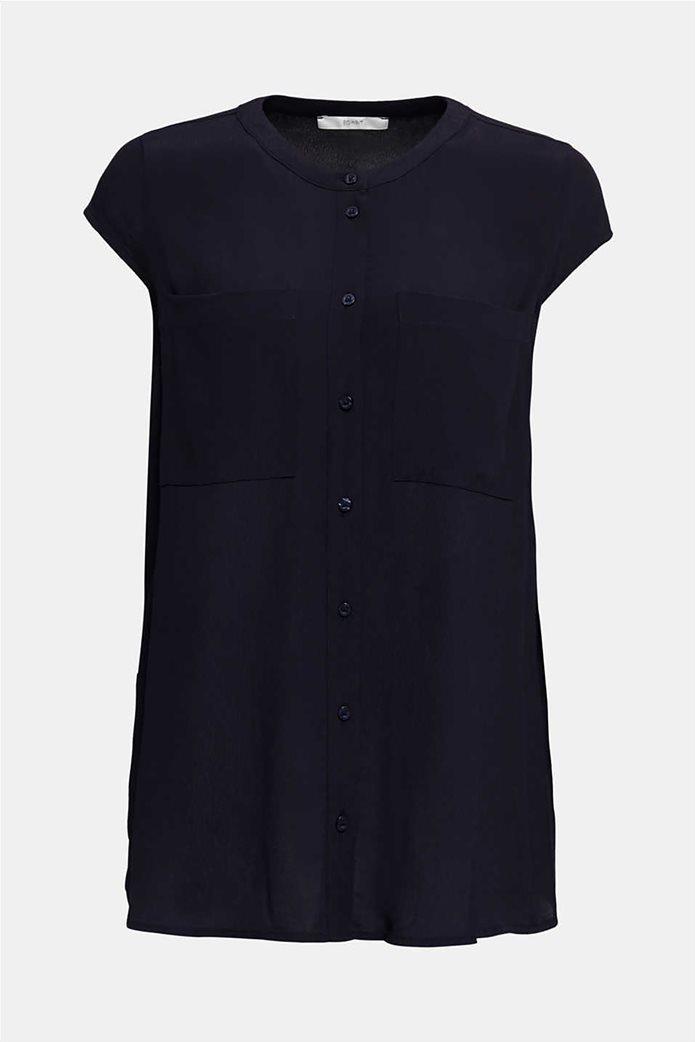 Esprit γυναικείο πουκάμισο κοντομάνικο μονόχρωμο με τσέπες 3