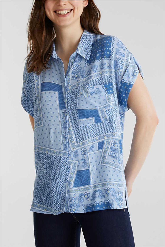Esprit γυναικείο πουκάμισο κοντομάνικο με print και μικροσχέδιο 0