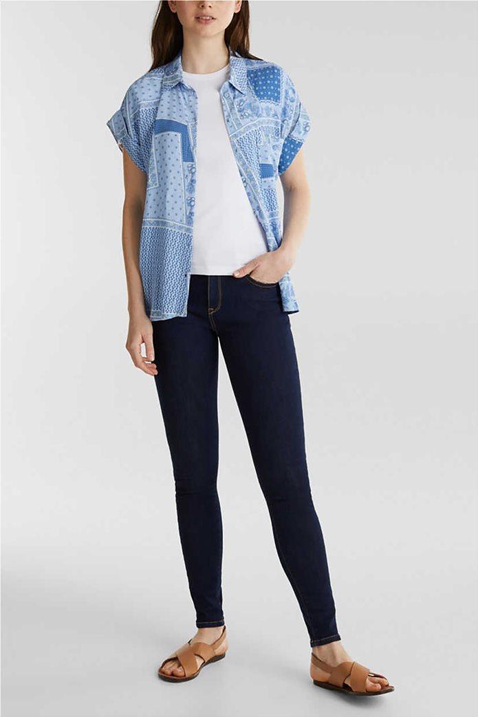 Esprit γυναικείο πουκάμισο κοντομάνικο με print και μικροσχέδιο 1