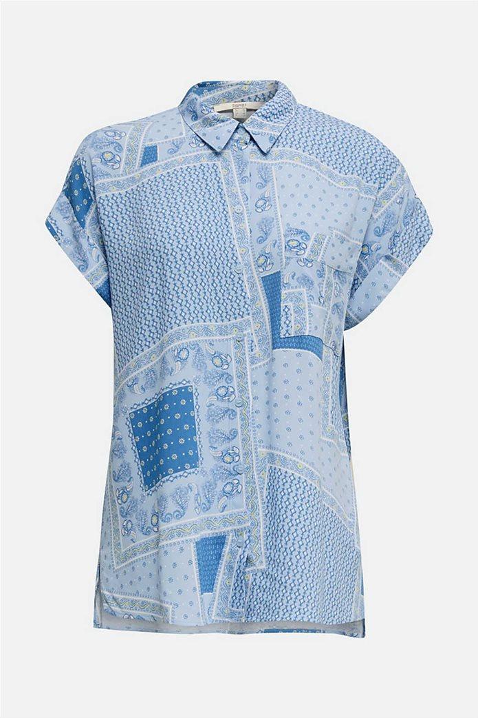 Esprit γυναικείο πουκάμισο κοντομάνικο με print και μικροσχέδιο 3