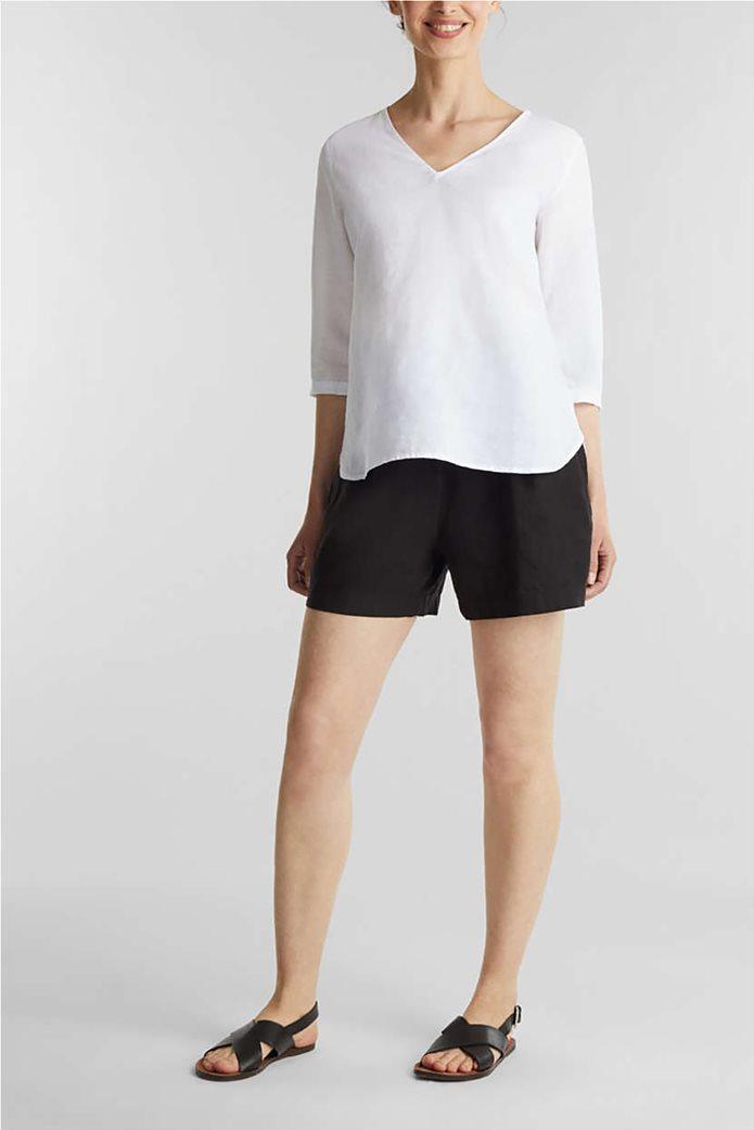 Esprit γυναικεία μπλούζα με V λαιμόκοψη και μανίκια 3/4 0