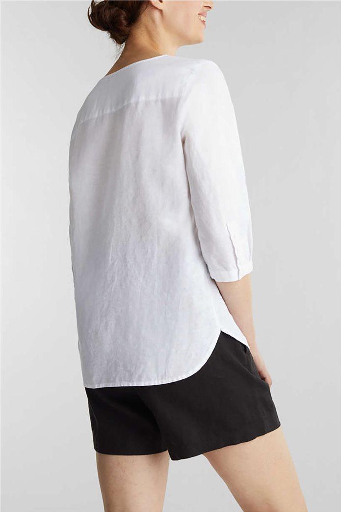 Esprit γυναικεία μπλούζα με V λαιμόκοψη και μανίκια 3/4 1