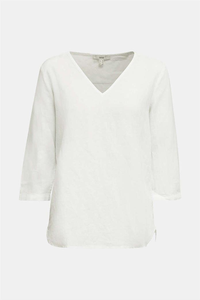Esprit γυναικεία μπλούζα με V λαιμόκοψη και μανίκια 3/4 3